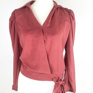 Long sleeve V neck Rosey Brown Nude Collar Blouse